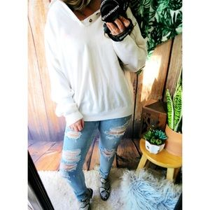 Vintage slouchy henley knit sweater ☕️
